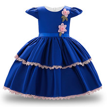 New Year Baby Dress Satin Lace Flower Baby Girl Christening Gowns Baby Girl Baptism Dresses 1st Year Birthday Tutu Girl Dress