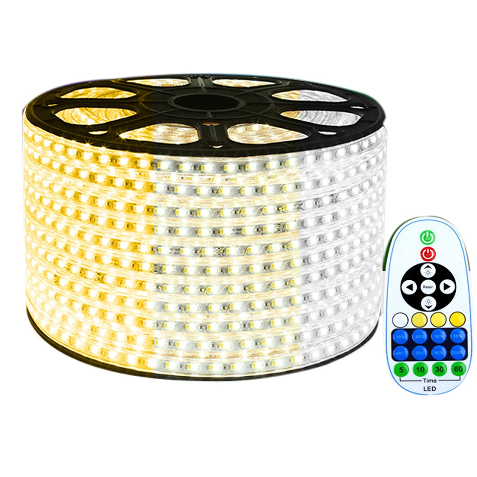 15 50M 5730 LED Strip Light CW+WW 220V IP67 Waterproof LED Tape Dual Color Changeable Dimmable LED Strip for Home Decor