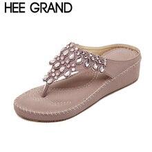 HEE GRAND Princess Rhinestone Woman Flip Flops Summer Style Sweet Girls' Women's Shoes 5cm Heel Casual Beach Slippers XWT310