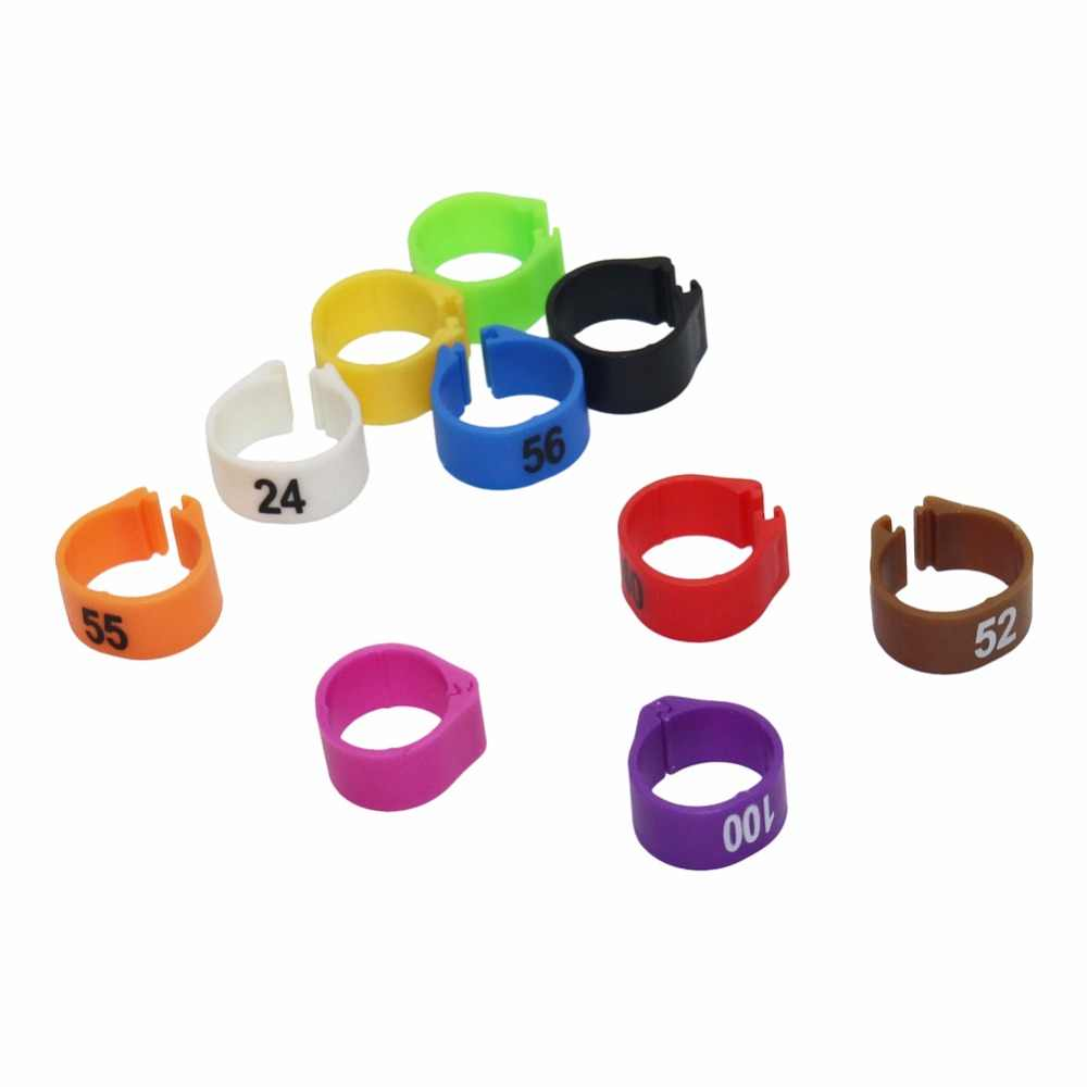 100 Pcs 1-100 Numbered Poultry Leg Bands Inner Diameter 12mm 14mm Digital  Bird Foot Ring Pigeon 10 Colors Pet Product
