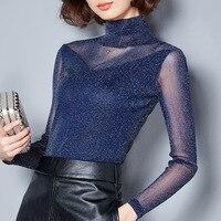 2018 Mùa Xuân của Phụ Nữ Thời Trang Slim Sexy Ren Lưới Chắp Vá Văn Phòng Lady Formal T Áo Áo Nữ Bán Buôn Sơ Mi Dễ Thương T Tees