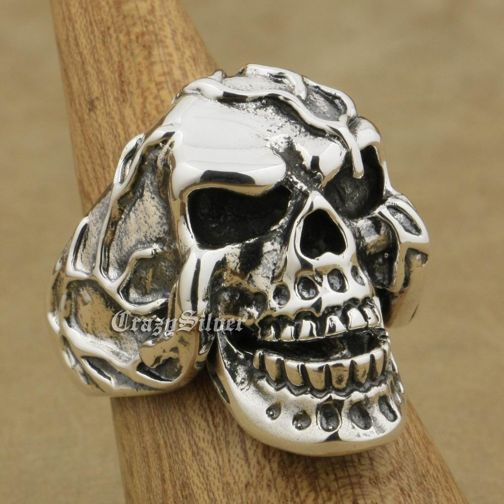 LINSION 925 Sterling Silver Jaw Openable Skull Ring Mens Biker Rock Punk Ring 9M020 US Size 7~15 r006 7 skull shaped stylish titanium steel ring silver us size 6