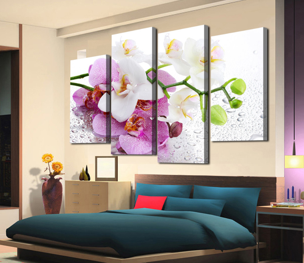 New 4 Panels Printed Flowers On Canvas Wall Art Picture