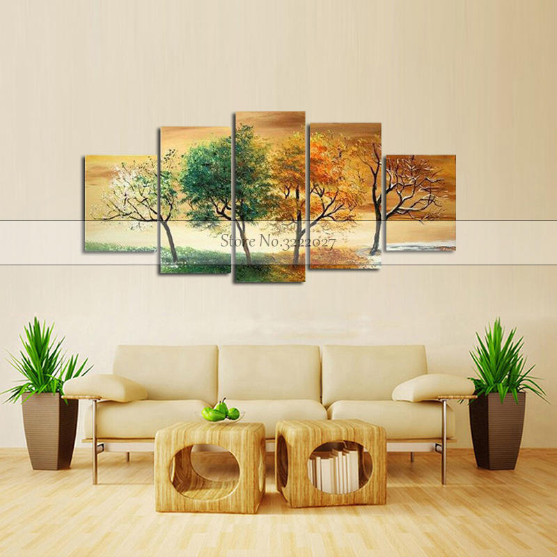 Canvas Painting Golden Abstract Fortune Lucky Trees Handmade Landscape Oil Painting Wall Art Pictures For Living Room Home Decor in Painting Calligraphy from Home Garden