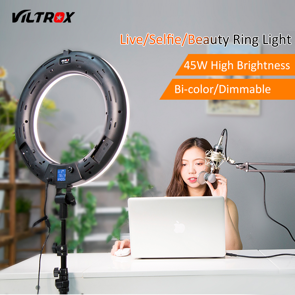 Viltrox VL-600T 45W LED Video Make Up Ring Light Lamp Bi-color Dimmable+Wireless remote for Camera Photo Studio Phone Live viltrox vl 200 pro wireless remote led video studio light lamp slim bi color dimmable ac power adapter for camcorder camera