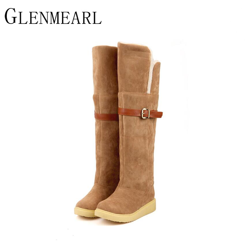2017 New High Women Boots Autumn Winter Brand Cotton Snow Over-The-Knee Belt Flat Black Beige Brown Frosted PU Warm High Boots
