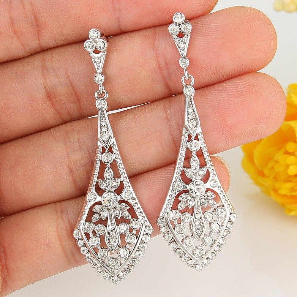 Bella Fashion Rhombus Leaf Bridal Earrings Art Deco Austrian Crystal Rhinestone Dangle Wedding For Party Jewelry Gift In Drop From