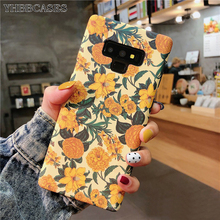 YHBBCASES For Samsung Galaxy S10 5G S8 S9 Plus Retro Yellow Flowers Soft Case Note 10 8 9 Fashion Floral Phone Cover