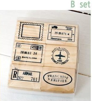 6pcs/set Top Quality Beautiful Design Vintage Travel Wooden Rubber Stamp Scrapbooking Craft Diary Postcard DIY Set Decor B