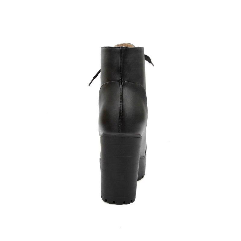 Épaisses Hauts Hiver D'équitation De Bottes Bottines Lacets Femmes Plateforme Femme Mode noir jaune Combat Talons Beige 7gIvmYbf6y