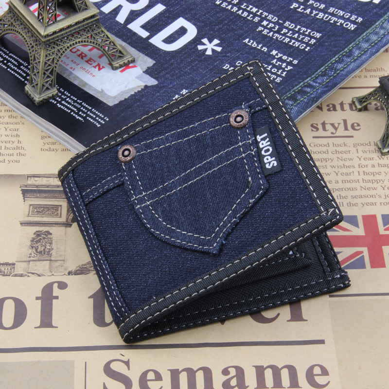 men / women Wallets 2018 New Wholesale Retro Hot sale Solid Canvas denim jeans Short zipper collect money clip Purse Vintage
