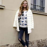 2016 New Women Girls Winter Soft Faux Fake Fur Coats Long Sleeve Fashion Warm Plus Size
