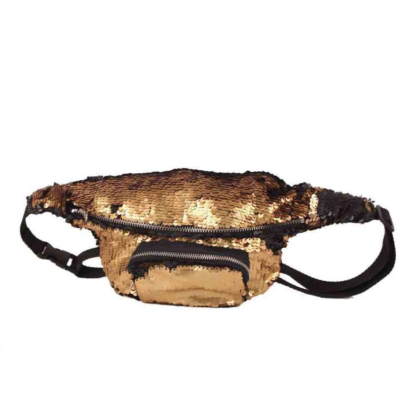Модные унисекс из искусственной кожи Two-tone Sequin Сумка сплошной Цвет сумка на молнии # F