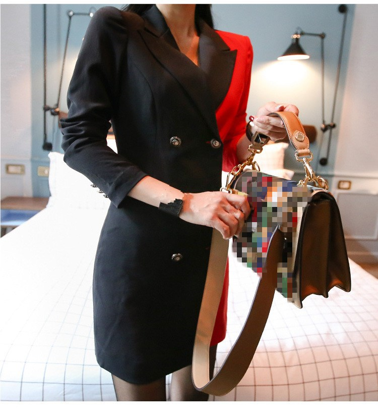 Autumn Women's Vintage Black /Red Color Patchwork Double Breasted Blazers Notched Office Lady Long Sleeve Long Blazers
