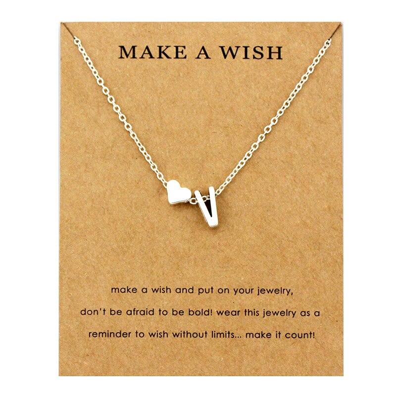 Сердце начальные Подвески ожерелье s персонализированное ожерелье с буквами Имя ювелирные изделия для женщин мужчин аксессуары подруги любовника пара подарок - Окраска металла: NE1676