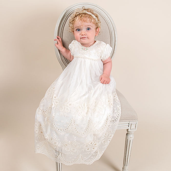 With Headband Baby Girl Dress European Puff Sleeves Floor Length Short Sleeve O-neck Appliques A-Line Formal Baby Birthday Dress cute navy blue tulle satin formal birthday party dresses o neck short sleeve sequins appliques and butterfly baby girl dress
