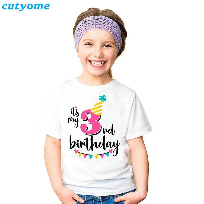 Summer Baby T Shirt Tops Children's Clothing Happy Birthday Girls Boys Short Sleeve Kids Clothes Tee Girls Boys' T-shirts Casual (1)