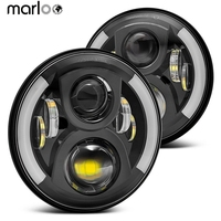 Marloo 2pcs 7 Inch LED Headlight H4 H13 Turn Signal Lights For Lada 4x4 Urban Niva