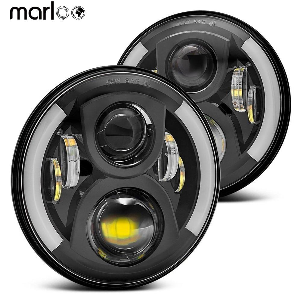 Marloo 2pcs 7 Inch LED Headlight H4 H13 Turn Signal Lights For Lada 4x4 urban Niva Jeep JK TJ Defender Hummer Toyota Trucks