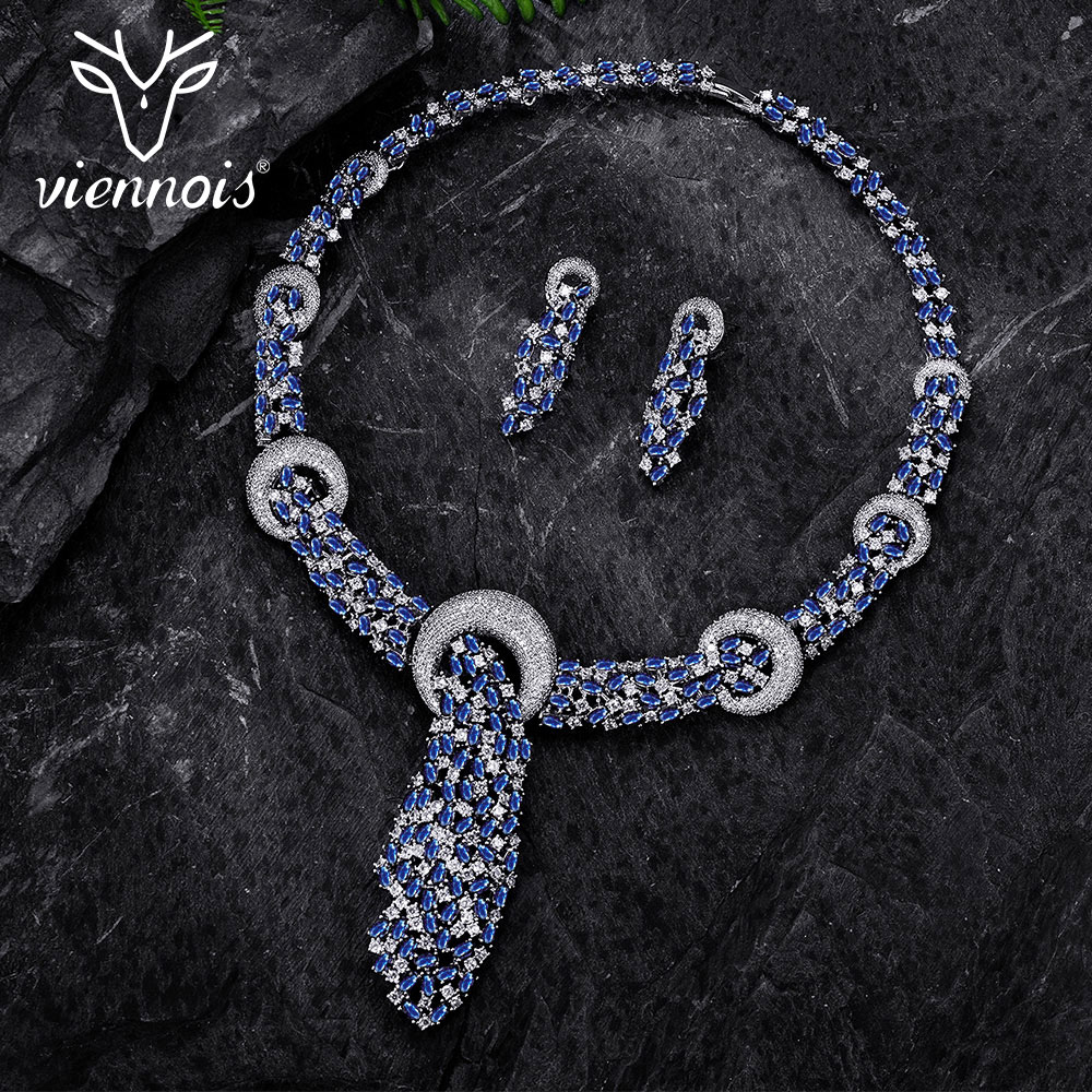 Viennois Silver color Blue Crystal Jewelry Sets for Woman Cyrstal Paved Necklaces Earrings Set Rhinestone Jewelry viennois luxury silver color jewelry sets for women blue crystals chain necklace earrings set bridal set wedding jewelry set