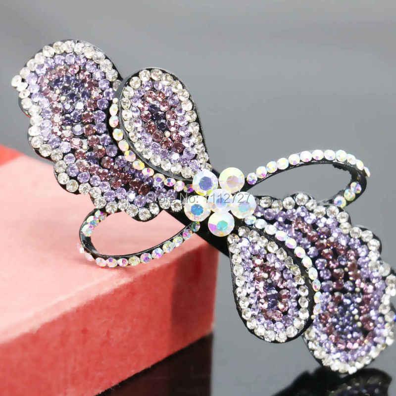 36*86mm Boda nupcial tocado bandas de cabeza cristal nuevo accesorio Clip horquilla mariposa Bowknot incrustaciones de diamantes de imitación