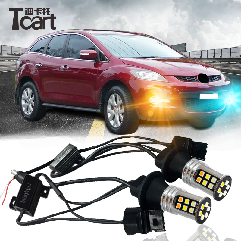 Tcart LED DRL Turn Signal Light T20 Car Auto Front Side Turn Signal DRL Daytime Running Light Bulbs For Mazda CX-7 CX7 2006-2009 tcart 1 set auto led bulbs car drl daytime running lights night drl yellow turn signals lamps py21w bau15s for mazda 3 2003 2009