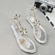 2019 Size 35-43 Bohemian Summer Women Sandals Gladiator Roman Strappy rhinestone Woman shoes Transparent tape Flat sandals Shoes plus size ethnic bohemian summer woman pompon sandals gladiator roman strappy knee high boots embroidered tassel shoes d35ma20