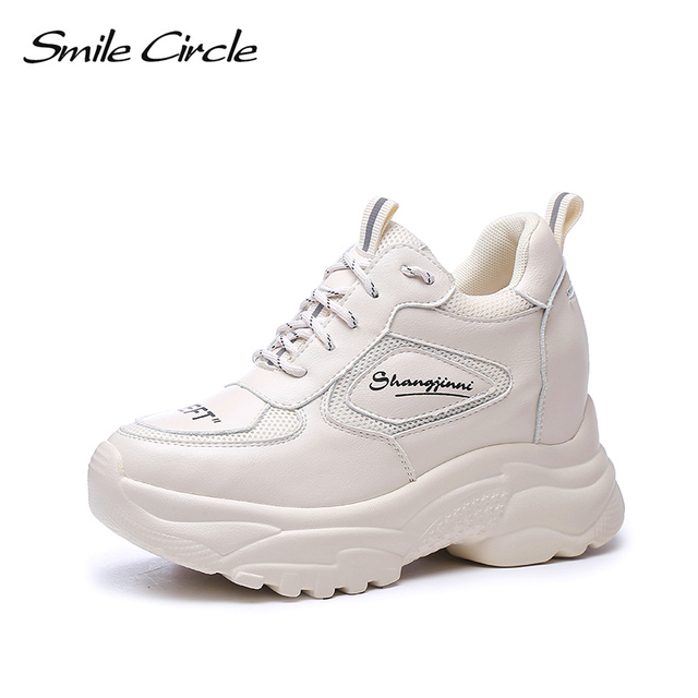 Smile Circle women s Wedge sneakers platform Mesh Breathable ladies Wedge  shoes Fashion Lace-up flat casual Shoes white 2019 new 2a0e0de45cda