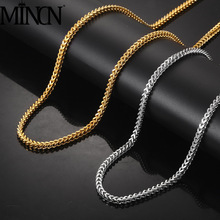 MINCN Chain necklace men titanium steel mens Necklace stainless Gold jewelry