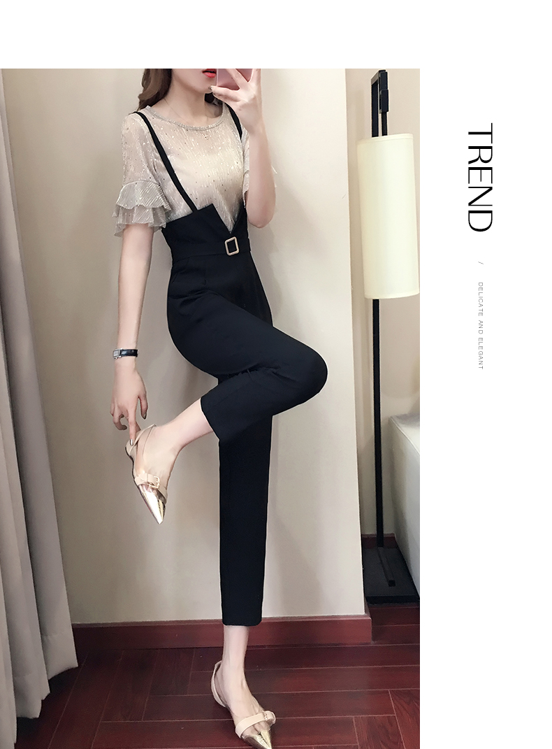 Casual women 2 pieces pant sets 2018 summer new fashion ruffles sleeved and black pencil pants lady clothing sets 6