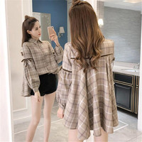Korea Fashion Autumn Womens Tops and Blouses 2018 New Spring Women's Shirt Female Grid Loose Tops A0316