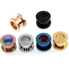 2Pcs Surgical Steel Ear Plugs and Tunnels Piercings Ear Stud Cartilage Metal Plugs Piercing Ear Gauges  Body Jewelry Pirecings