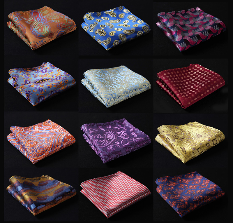 Paisley Floral Men Silk Satin Pocket Square Hanky Jacquard Woven Classic Wedding Party Handkerchief #A3