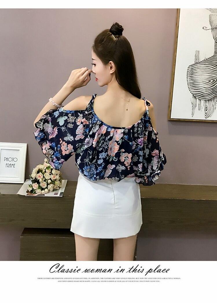 MISSFEBPLUM Summer 2018 Blouses Off Shoulder Women Chiffon Shirt Print Floral Blouse Ruffles Sleeved Blusas Work Shirts Tops