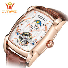 цена 2019 OUYAWEI Men Mechanical Watches Automatic Business Tourbillon Wristwatch Leather Moon Phase Reloj Sports Clock Montre Homme онлайн в 2017 году