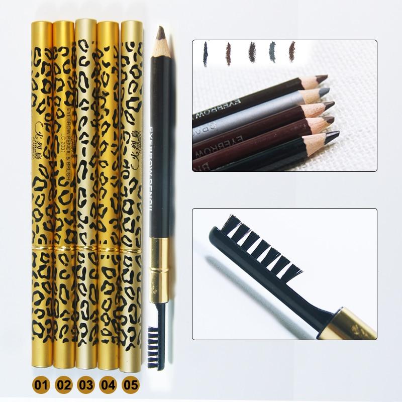 Novas Mulheres Waterproof Lápis de Sobrancelhas Com Escova Make Up Leopard maquiagem 5 Cores Sombra Para Sobrancelha + 3 pçs/set sobrancelha