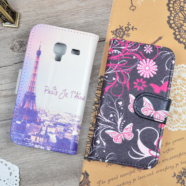 Wallet Case For Samsung Galaxy Ace 2 i8160 8160 Gt-i8160 Fashion Printing Stand Flip Cover Protective Phone Bag With Card Holder
