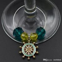 20pcs Lot Table Winglass Beads Ring Charm Chain With Waterwheel Pendant Wedding Party Goblet Bottle