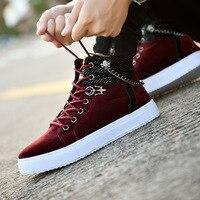 Высокое качество Мужская Вулканизированная обувь новые высокие холщовые повседневные туфли мужские осенние кожаные кроссовки с металличе...