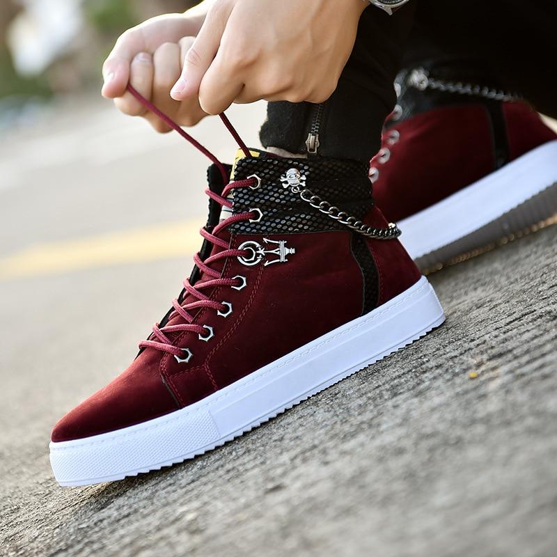 Alta qualidade dos homens vulcanizado sapatos novos de lona alta superior sapatos casuais outono tênis de couro de metal corrente mais tamanho masculino apartamentos