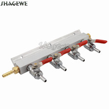 4 Way CO2 Gas Distribution Block Manifold Splitter with 1/4