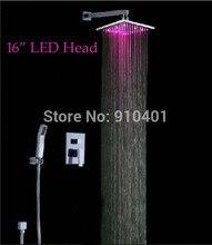 """Venta al por mayor y al por menor promoción 16 """" LED jefe ducha de lluvia grifo de válvula mezclador grifo W / ducha de mano pared cromo montado en finalizar"""