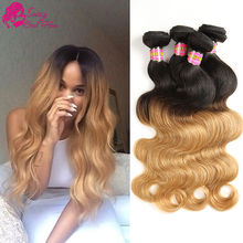 Brazilian Body Wave Human Hair Weave Blonde Bundles Ombre 1b 27 Cheap 4pcs Brazilian Hair Bundles