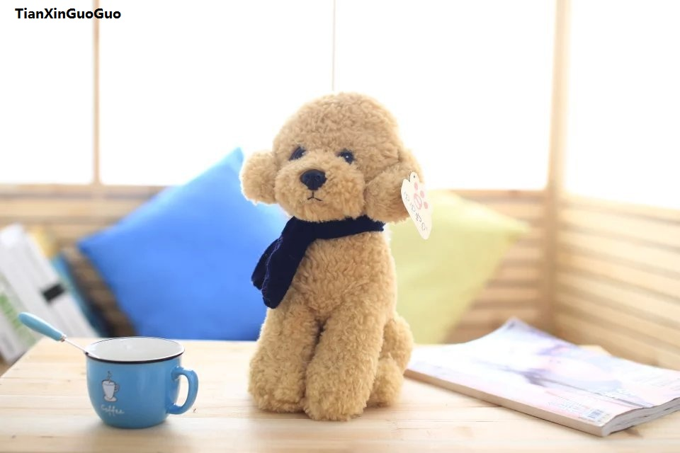 large 33cm light brown ted dog plush toy squatting dog with scarf ,pillow toy birthday gift s0963