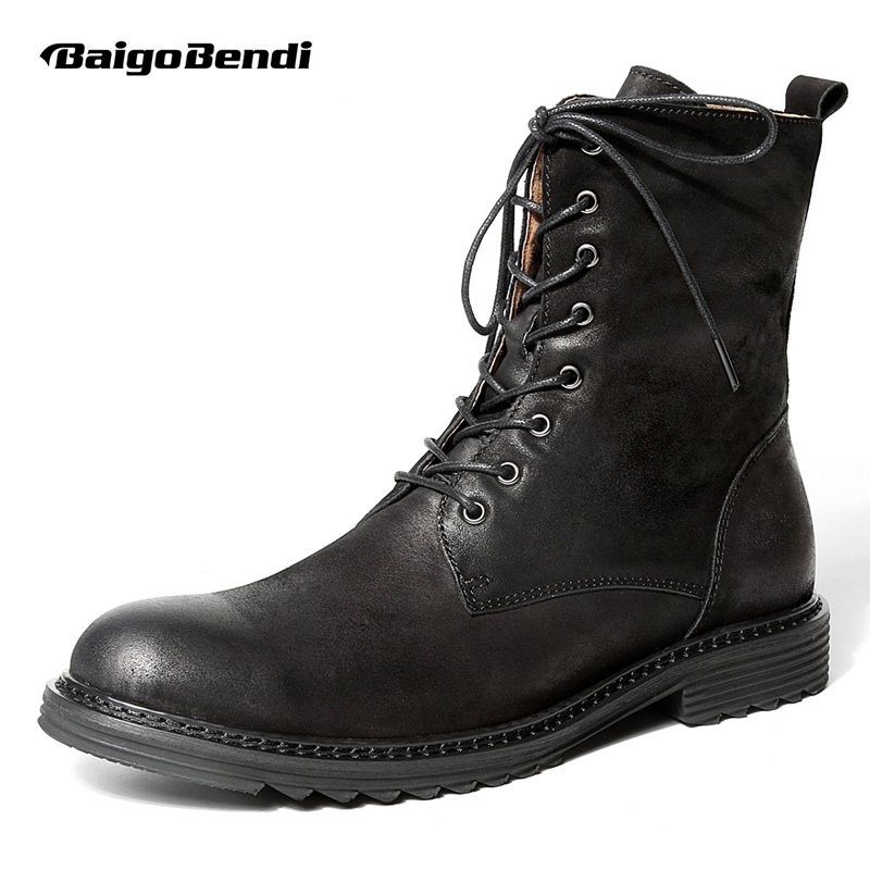 US 6-10 Topkvalitet Herre Ægte Læder Blonder Soliders Mid-Calf Martin Støvler Casual Zip Winter Motorcycle Ridding Boots