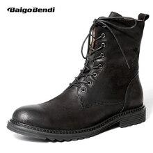 США 6-10 Одежда высшего качества мужские натуральная кожа на шнуровке soliders до середины икры ботинки Martin повседневные, зимние мотоциклетные ботинки для верховой езды