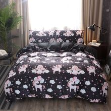 3D Pink Unicorn Print Black or White Duvet Cover Set With Sham for Twin Queen King Double Size Bed Home Textiles Parure De Lit(China)