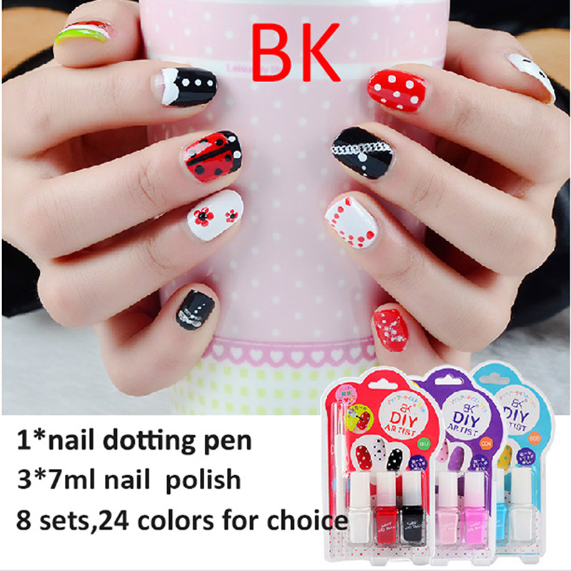 Bk Cute Kids Sexy Sweet Color Nail Art Kit Designs White Red Blue