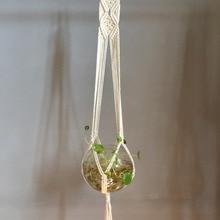 Новое поступление, ручная работа, бежевая, розовая, синяя, зеленая, черная Подвеска для растений из макраме, вешалка для горшка, подвесная вешалка для растений