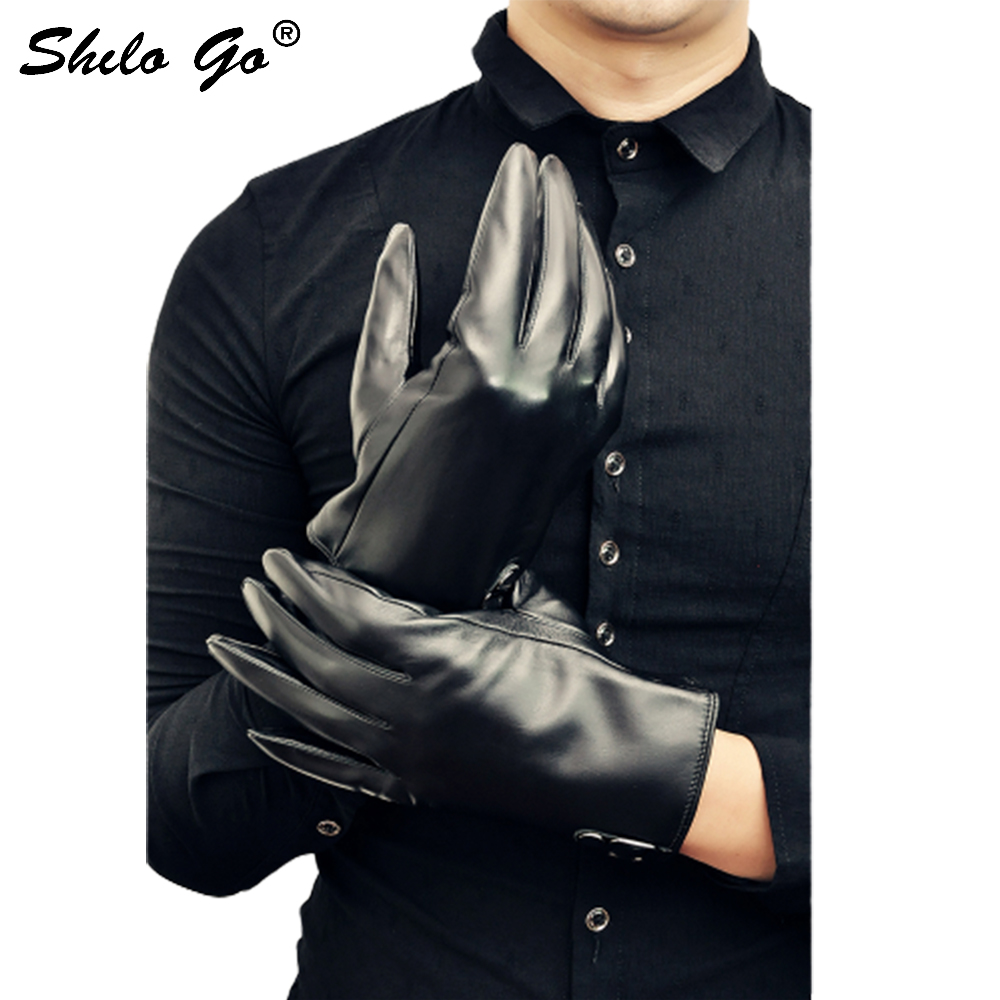 Leather Gloves Mens Spring Fashion sheepskin genuine leather Gloves single button Business concise black gloves